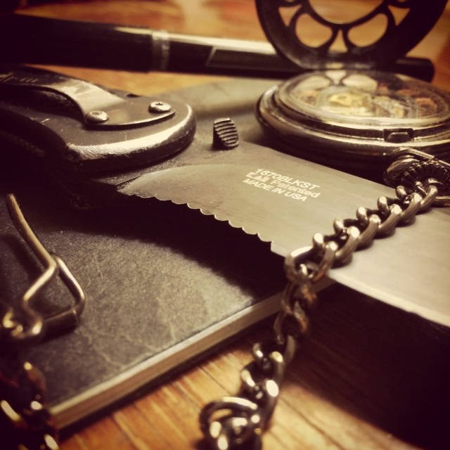 Knife, pocket-watch, pen, notebook, word-duel-kitchen-knife, tom-kray, the-fas, flashlight-adventure-series. pocketknife